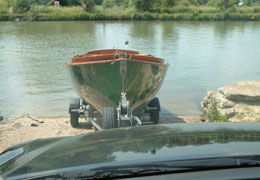 Front Towbar attached boat